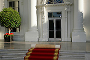 The White House, Washington DC with red carpet rolled up, United States of America
