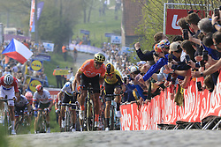 Greg Van Avermaet (BEL) CCC Team and Wout Van Aert (BEL) Jumbo-Visma give chase on the Paterberg for the last time during the 2019 Ronde Van Vlaanderen 270km from Antwerp to Oudenaarde, Belgium. 7th April 2019.<br /> Picture: Eoin Clarke | Cyclefile<br /> <br /> All photos usage must carry mandatory copyright credit (© Cyclefile | Eoin Clarke)