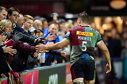 James Horwill of Harlequins thanks the crowd after the match - Mandatory byline: Patrick Khachfe/JMP - 07966 386802 - 03/05/2019 - RUGBY UNION - The Twickenham Stoop - London, England - Harlequins v Leicester Tigers - Gallagher Premiership Rugby