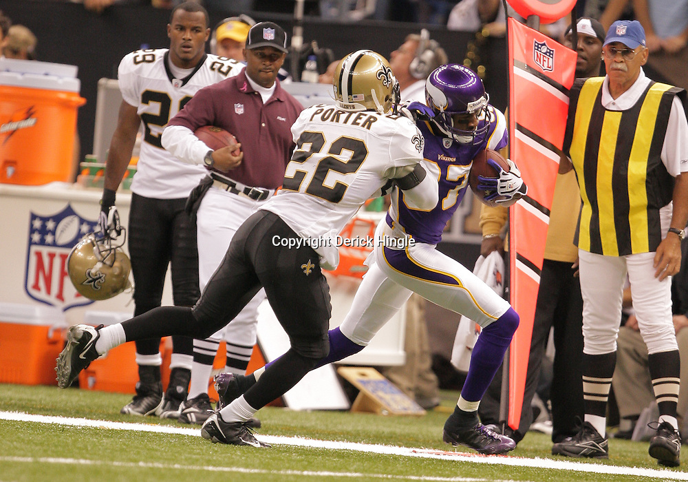 2008 October, 06: Minnesota Vikings wide receiver Bernard Berrian (87) is chased down by New Orleans Saints cornerback Tracy Porter (22) during the first half of a week five regular season game between the Minnesota Vikings and the New Orleans Saints for Monday Night Football at the Louisiana Superdome in New Orleans, LA.