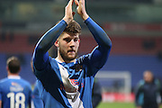 Will Evans applauds the Eastleigh fans during the The FA Cup Third Round Replay match between Bolton Wanderers and Eastleigh at the Macron Stadium, Bolton, England on 19 January 2016. Photo by Pete Burns.