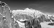 Aerial view of Denali (Mt. McKinley), the Ruth Glacier (lower left)  and the Alaska Range on a sightseeing flight from Talkeetna, Alaska.