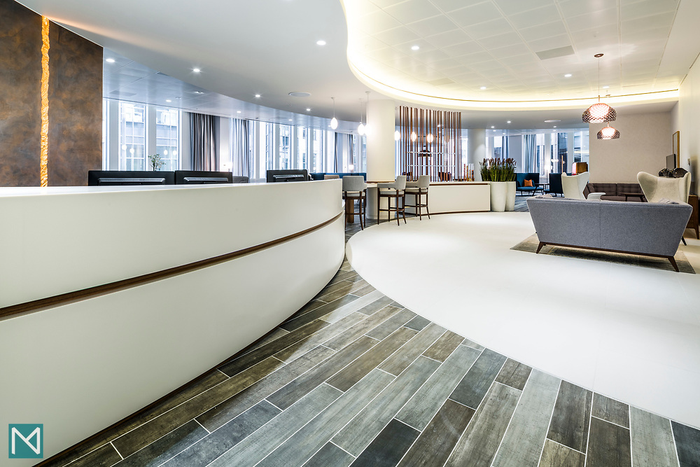 Reception at a London insurance company, for commercial interior design consultancy Burtt-Jones and Brewer