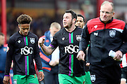 Bristol City striker, Lee Tomlin (9) making celebration gesture to fans during the Sky Bet Championship match between Brentford and Bristol City at Griffin Park, London, England on 16 April 2016. Photo by Matthew Redman.