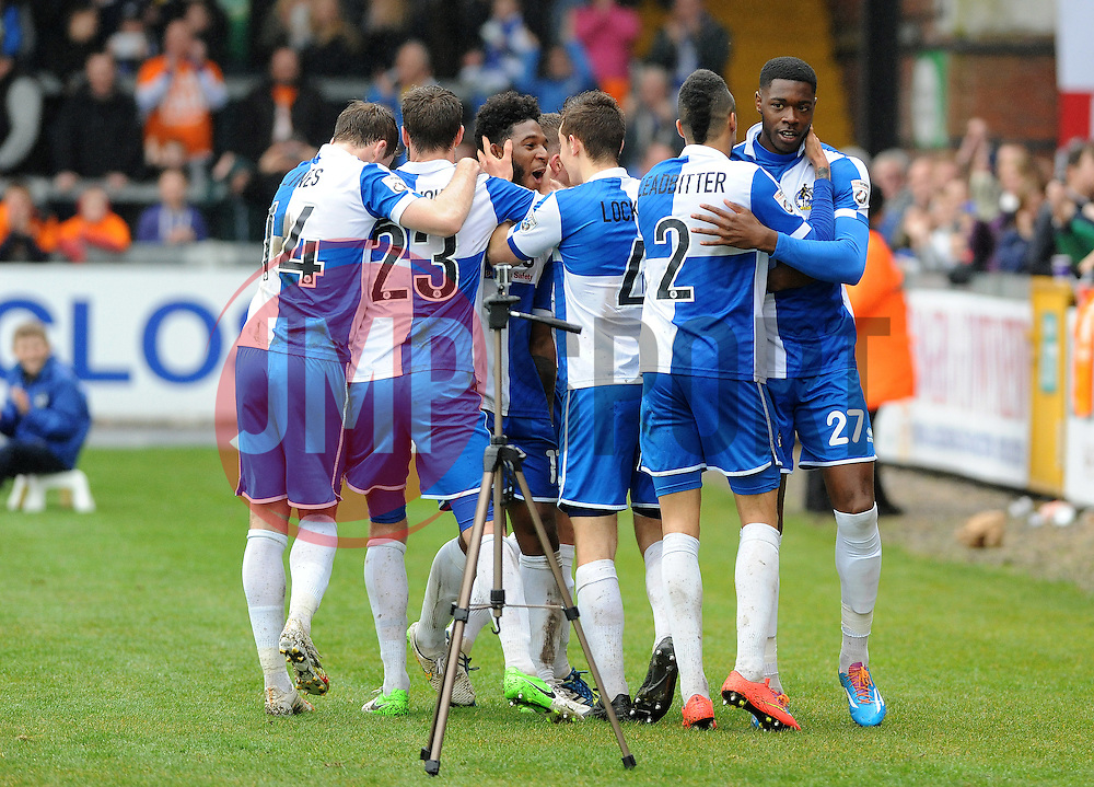 Bristol Rovers celebrate Bristol Rovers' Ellis Harrison goal - Photo mandatory by-line: Neil Brookman/JMP - Mobile: 07966 386802 - 03/04/2015 - SPORT - Football - Bristol - Memorial Stadium - Bristol Rovers v Chester - Vanarama Football Conference