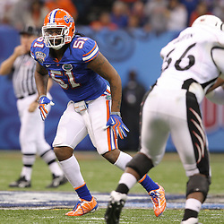 Jan 01, 2010; New Orleans, LA, USA;  Florida Gators linebacker Brandon Spikes (51) drops into coverage against the Cincinnati Bearcats during the first half of the 2010 Sugar Bowl at the Louisiana Superdome.  Mandatory Credit: Derick E. Hingle-US PRESSWIRE.