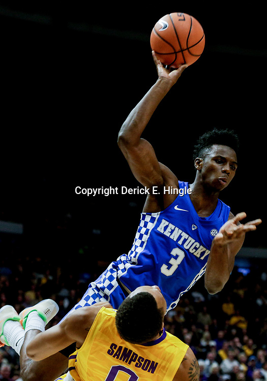 Jan 3, 2018; Baton Rouge, LA, USA; Kentucky Wildcats guard Hamidou Diallo (3) collides with LSU Tigers guard Brandon Sampson (0) during the first half at the Pete Maravich Assembly Center. Mandatory Credit: Derick E. Hingle-USA TODAY Sports