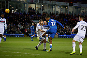 Peterborough Utd forward Ivan Toney (17) misses a header during the EFL Sky Bet League 1 match between Peterborough United and Rochdale at London Road, Peterborough, England on 12 January 2019.
