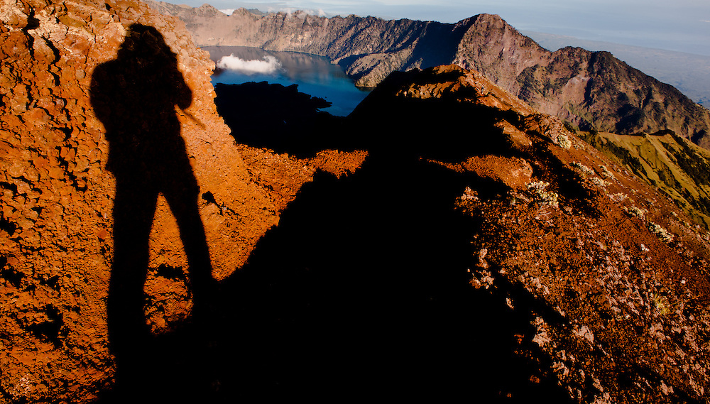 Photographer's shadow on the slopes of Mount Rinjani (Lombok, Indonesia)