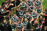 Dejected and defeated, Leicester Tigers are applauded by Stade Toulouse players as they leave the field after the Heineken Cup match between Stade Toulouse and Leicester Tigers at Stade Municipal on October 14, 2012 in Toulouse, France.  Eoin Mundow/Cleva Media