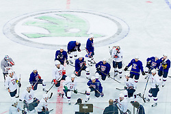 Matjaz Kopitar talks to players during practice session of Slovenian National Ice Hockey team first time in Arena Stozice before 2012 IIHF World Championship DIV I Group A in Slovenia, on April 13, 2012, in Arena Stozice, Ljubljana, Slovenia. (Photo by Vid Ponikvar / Sportida.com)