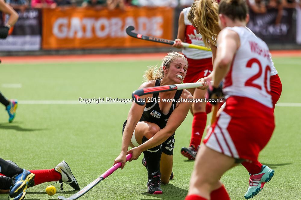 Rachel McCann shoots for goal. International Womens Hockey. New Zealand Black Sticks v Canada. Whangarei. New Zealand. Sunday 8 February 2015. Copyright Photo: Heath Johnson / www.photosport.co.nz