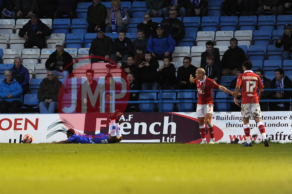 Bristol City's Adam El-Abd protests against the penalty - Photo mandatory by-line: Dougie Allward/JMP - Mobile: 07966 386802 - 08/11/2014 - SPORT - Football - Gillingham - Priestfield Stadium - Gillingham v Bristol City - FA Cup - Round One
