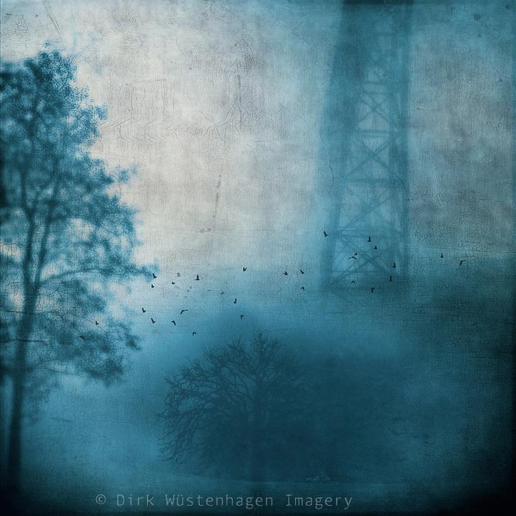 Bridge and trees shrouded in fog - texturized monochrome photograph