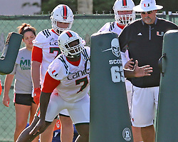 August 1, 2017 - Coral Gables, FL, USA - UM's DL Kendrick Norton (7) hits the dummies at the University of Miami's first day of football practice for the 2017 season on Tuesday, Aug. 1, 2017 in Miami, Fla. (Credit Image: © Charles Trainor Jr/TNS via ZUMA Wire)