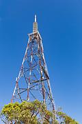 Lattice television broadcast tower and tv antennas at Mt Stuart, Townsville, Queensland, Australia