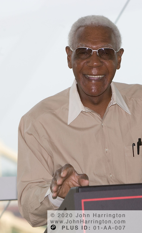 "Buck O'Neil, 94, at an XM Satellite Radio sponsored breakfast during All-Star Week 2006 in Pittsburgh, PA, July 11, 2006. John ""Buck"" O'Neil was the oldest player to play a major league baseball game, and the first black coach in the majors, and is the goodwill ambassador for the Negro Leagues.<br />"