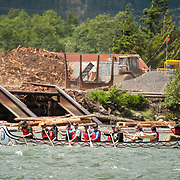 National Aboriginal Day canoe races at the Stawamus Waterfront.  Squamish BC, Canada.
