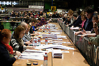 The vote count for the 2016 Irish General Election at RDS, Dublin, Ireland. Saturday 27th February 2016. Photographer: Doreen Kennedy