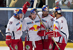 "31.02.2012, VOLKSGARTEN EISARENA, SALZBURG, AUT, EC RED BULL SALZBURG vs KHL MEDVESCAK ZAGREB, IM BILD Jubel bei Salzburg nach den 1 zu 1 Ausgleich, vl.nr. Brent Aubin, (EC Redbull Salzburg, #26), Torschütze Ryan Kavanagh, (EC Redbull Salzburg, #81), Robert Earl, (EC Redbull Salzburg, #10) und Thomas Raffl, (EC Redbull Salzburg, #5) // Cheers from Salzburg to the 1 to 1 compensation, vl.nr. Brent Aubin, (EC Redbull Salzburg, # 26), top scorer Ryan Kavanagh (EC Redbull Salzburg, # 81), Robert Earl, (EC Redbull Salzburg, # 10) and Thomas Raffl, (EC Redbull Salzburg, # 5) DURING THE ""ERSTE BANK ICEHOCKEY LEAGUE"" GAME BETWEEN EC RED BULL SALZBURG AND KHL MEDVESCAK ZAGREB AT THE VOLKSGARTEN ICEARENA, SALZBURG, AUSTRIA, 2012/01/31. EXPA Pictures © 2012, PhotoCredit: EXPA/ Juergen Feichter"