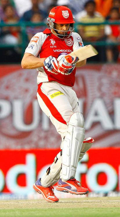 Kings XI Punjab captain Adam Gilchrist play a shot during match 66 of the the Indian Premier League ( IPL) 2012  between The Kings X1 Punjab and The Chennai Superkings held at the HPCA Stadium, Dharamsala, on the 17th May 2012..Photo by Pankaj Nangia/IPL/SPORTZPICS