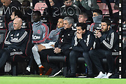 Manchester United manager Jose Mourinho sitting in the dugout during the Premier League match between Bournemouth and Manchester United at the Vitality Stadium, Bournemouth, England on 18 April 2018. Picture by Graham Hunt.