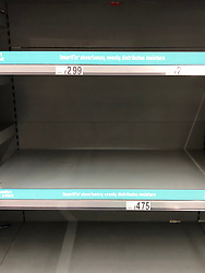 © Licensed to London News Pictures. 13/03/2020. Leeds UK. ASDA LEEDS. Empty Nappy shelves at ASDA in the Killingbeck area of Leeds this morning as people continue to panic buy in fear of quarantine measures and shortages as the current Coronavirus ( COVID-19 ) spread starts to impact more people. Photo credit: Andrew McCaren/LNP