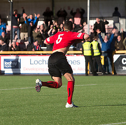 Brechin City's James Dale scores the winning penalty. Alloa Athletic 4 v 3 Brechin City (Brechin won 5-4 on penalties), Ladbrokes Championship Play-Off 2nd Leg at Alloa Athletic's home ground, Recreation Park, Alloa.