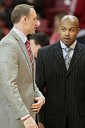 11 January 2014:  Head Coach Dan Muller and Torrey Ward during an NCAA  mens basketball game between the Ramblers of Loyola University and the Illinois State Redbirds  in Redbird Arena, Normal IL.  Redbirds win 59-50