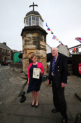 Fiona-Hyslop_North-Queensferry-Pier_24-04-2019<br /> <br /> Fiona Hyslop with James Lawson<br /> <br /> (c) David Wardle | Edinburgh Elite media