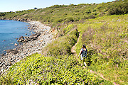 Woman walking south west coastal path, Lowland Point, the Lizard Peninsula, Cornwall, England, UK