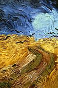 Crows Over Wheatfield' 1890 (detail). Oil on Canvas.  Vincent Van Gogh (1853-1890) Dutch Post-Impressionist artist.