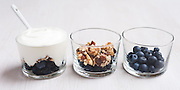 Verrines with blueberries, muesli and fromage blanc