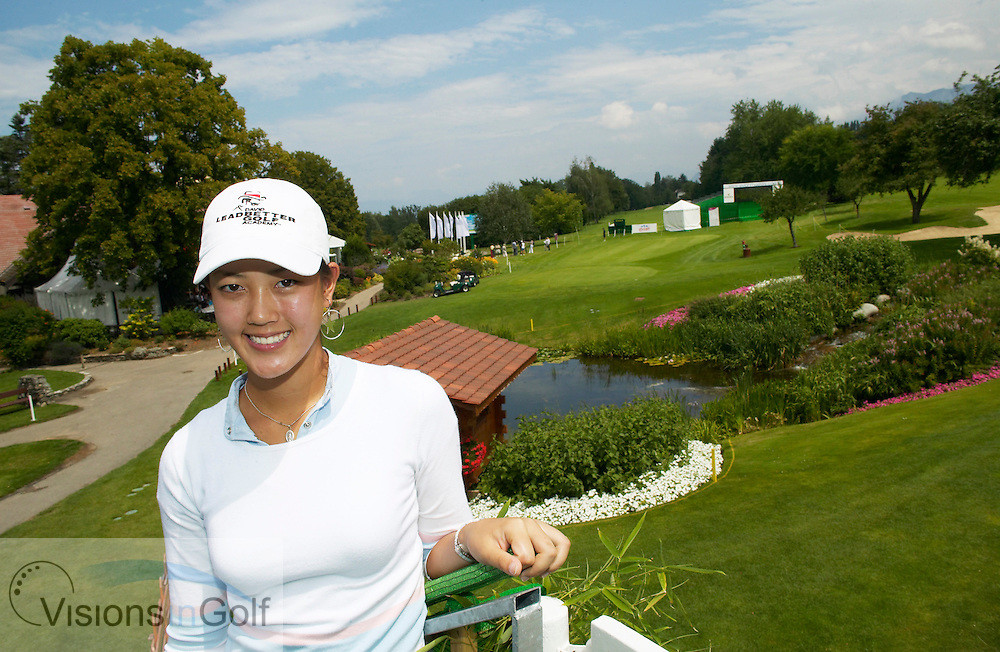 040720 Evian Frankrike / Photo Christer Hoglund / LPGA Evian Masters Centennial Tournament / Michelle Wie USA, 14 years old and amateur golfer,  are playingen on LPGA tour.