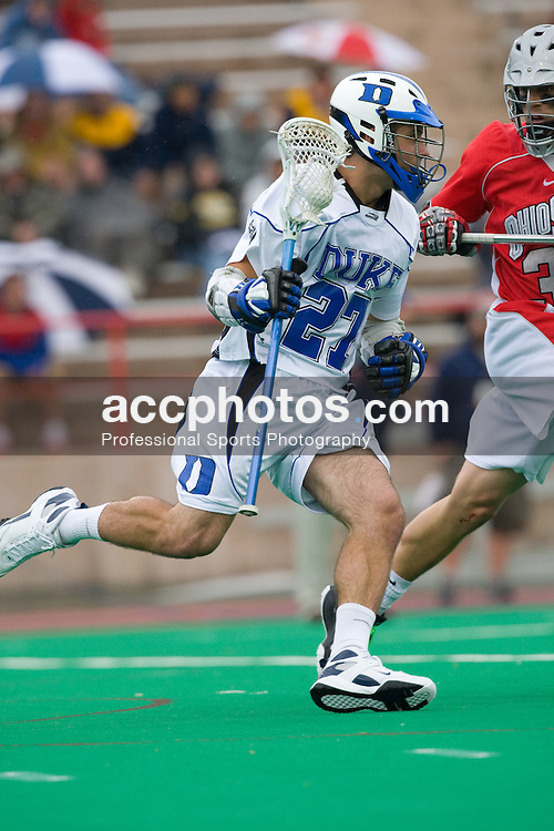 18 May 2008: Duke Blue Devils midfielder Michael Young (27) during a 21-10 win over the Ohio State Buckeyes during the NCAA quarterfinals held at Cornell University in Ithaca, NY.
