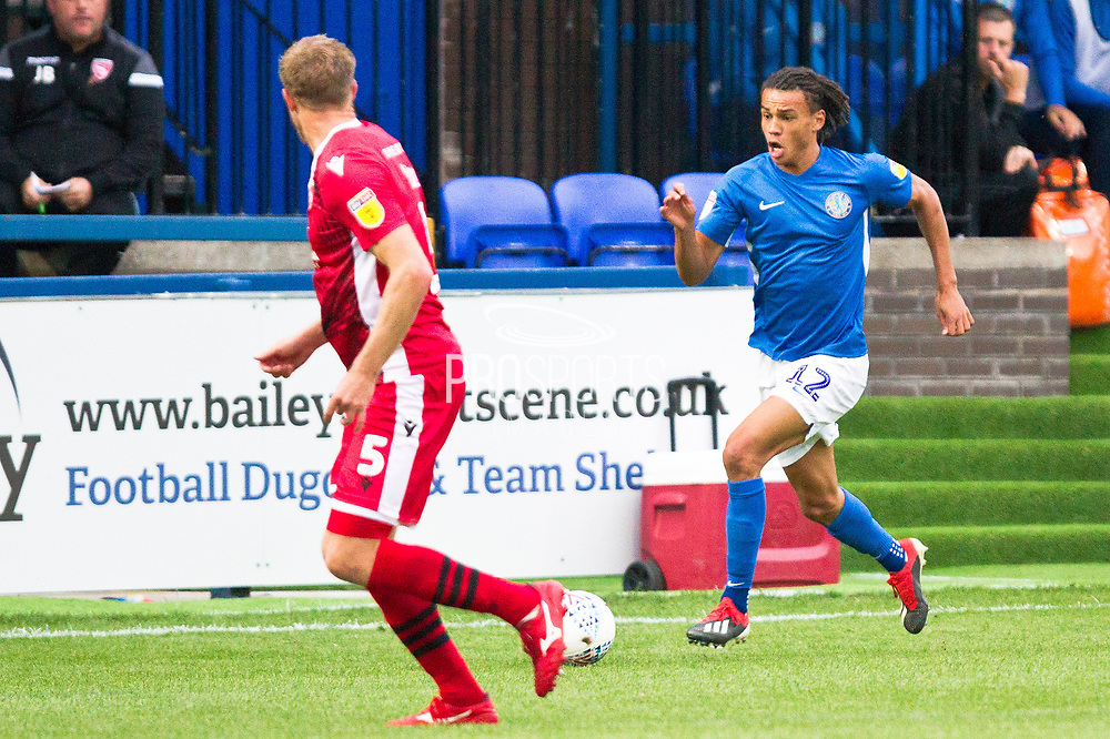 Macclesfield Town defender Miles Welch-Hayes in action during the EFL Sky Bet League 2 match between Macclesfield Town and Morecambe at Moss Rose, Macclesfield, United Kingdom on 20 August 2019.
