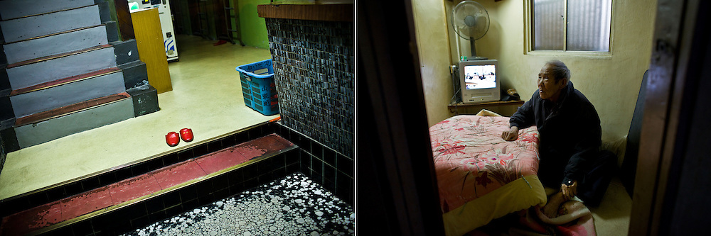 LEFT:  A pair of slippers are seen at a cheap motel where many day labors live in Osaka, Japan. <br /> <br /> RIGHT: Hiromi Okamoto, 74, lives in a tiny room paid by welfare in Osaka, Japan.