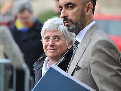 Pictured: Professor Ponsati outside the police station with her lawyer Aamer Anwar.<br /> <br /> Former Catalan government minister Professor Clara Ponsati turned herself in to police in Edinburgh, Scotland today, in response to a European arrest warrant issued by the Spanish prosecutors following the disputed Catalan independence referendum last year, which Spain has ruled illegal.<br /> <br /> © Dave Johnston/ EEm