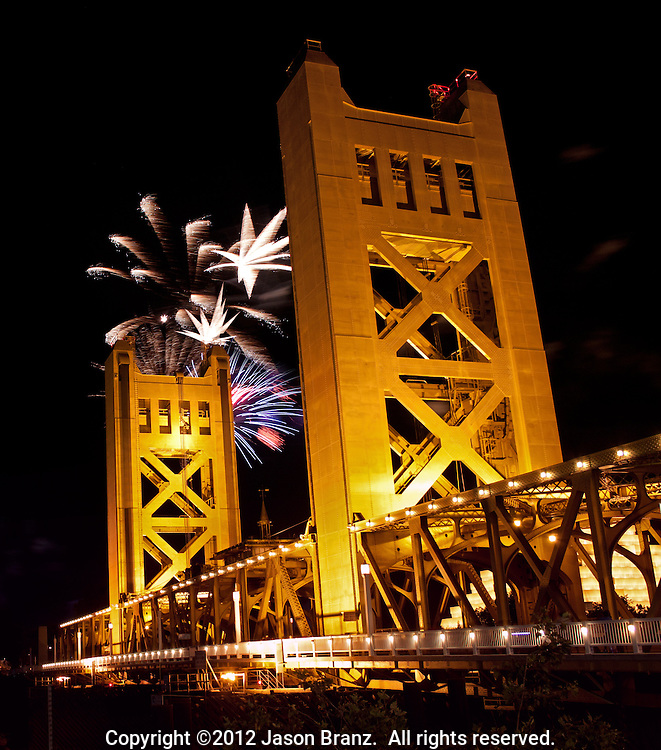 Fourth of July Fireworks above the Tower Bridge, Sacramento, California.