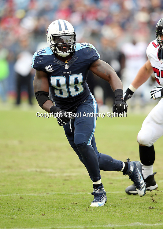 Tennessee Titans linebacker Brian Orakpo (98) chases the action during the 2015 week 7 regular season NFL football game against the Atlanta Falcons on Sunday, Oct. 25, 2015 in Nashville, Tenn. The Falcons won the game 10-7. (©Paul Anthony Spinelli)