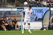 Milton Keynes Dons defender George Williams (2) heads the ball during the EFL Sky Bet League 1 match between Wycombe Wanderers and Milton Keynes Dons at Adams Park, High Wycombe, England on 17 August 2019.
