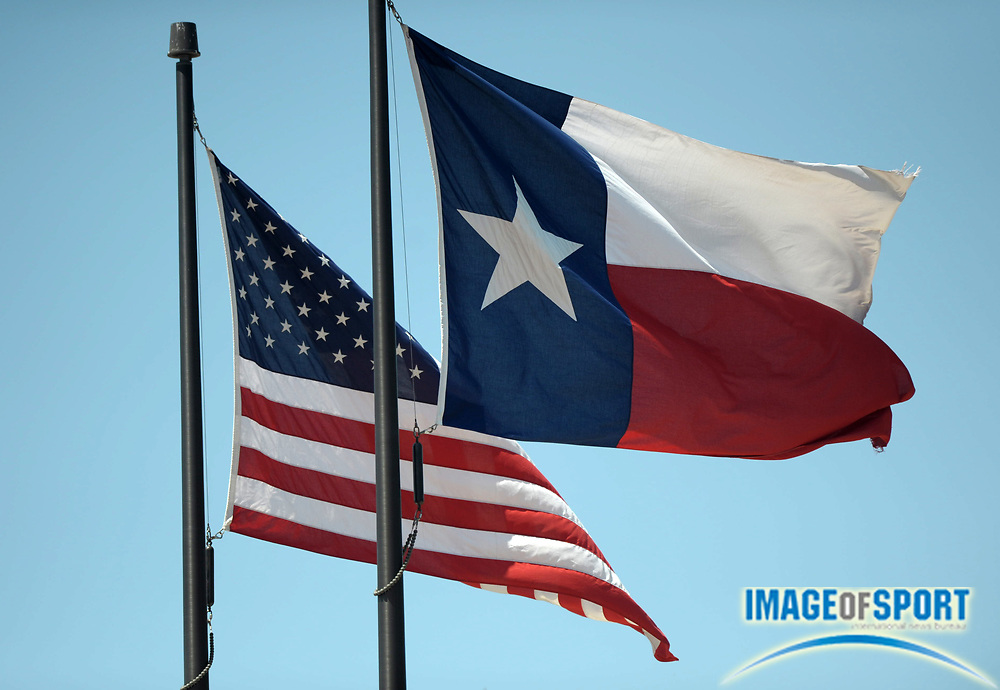 Mar 31, 2012; Austin, TX, USA; General view of the flags of the state of Texas and the United States at the 85th Clyde Littlefield Texas Relays at Mike A. Myers Stadium.