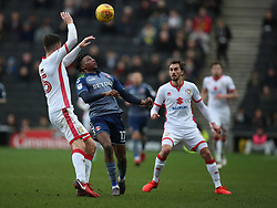 Charlton Athletic's Joe Aribo and MK Dons Eliott Ward during the Sky Bet League One match at Stadium MK, Milton Keynes .
