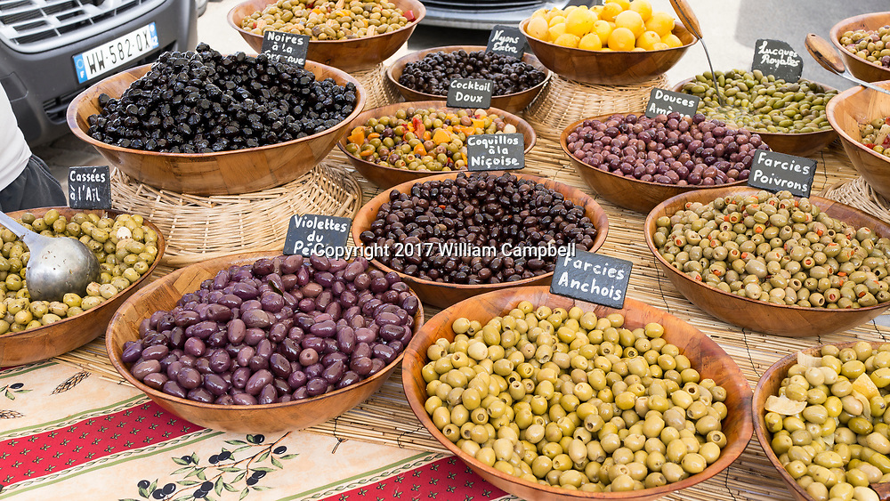 Olives for sale at the Saturday market in Richelieu, France.