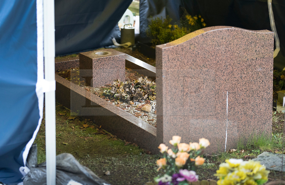 © Licensed to London News Pictures. 20/03/2018. Salisbury, UK. The grave of Liudmila Skripal, wife of former Russian spy Sergei Skripal, is visible under a police evidence tent at the cemetery in Salisbury. Police activity at the cemetery appears to have been scaled back. Former Russian spy Sergei Skripal, his daughter Yulia are still critically ill after being poisoned with nerve agent. The couple where found unconscious on bench in Salisbury shopping centre. Authorities continue to investigate. Photo credit: Peter Macdiarmid/LNP