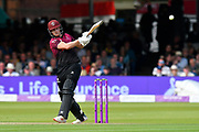 Wicket - Tom Abell of Somerset hits the ball straight to Aneurin Donald of Hampshire and is caught during the Royal London 1 Day Cup Final match between Somerset County Cricket Club and Hampshire County Cricket Club at Lord's Cricket Ground, St John's Wood, United Kingdom on 25 May 2019.