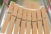 extreme close up of wooden cloth pegs