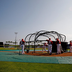 February 24, 2011; Clearwater, FL, USA; Philadelphia Phillies outfielder John Mayberry (15) takes batting practice prior to a spring training exhibition game against Florida State University at Bright House Networks Field. Mandatory Credit: Derick E. Hingle