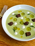 36801 LOUISVILLE, Ky. - Feb. 11, 2015 - Decca Restaurant Executive Chef and Owner Annie Pettry's Green tomato gazpacho with cream fraich, grapes, dill, and pumpernickel croutons.<br /> William DeShazer for The Wall Street Journal