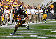 September 4 2010: Iowa Hawkeyes wide receiver Colin Sandeman (22) runs after a catch during the first quarter of the NCAA football game between the Eastern Illinois Panthers and the Iowa Hawkeyes at Kinnick Stadium in Iowa City, Iowa on Saturday September 4, 2010. Iowa defeated Eastern Illinois 37-7.
